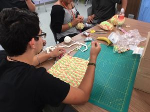 Teens at the La Porte County Public Library crochet blankets for babies in the NICU.